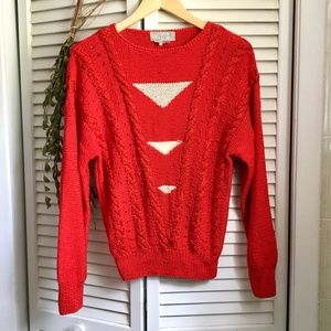 {Vintage Nannel} Hand Knit Red Cable Sweater